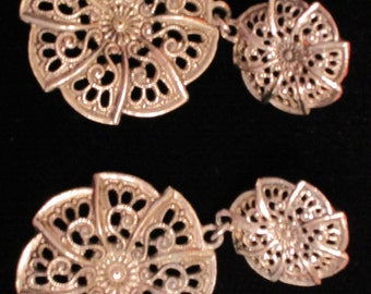 SILVER Metal FILIGREE MEDALLION Earrings
