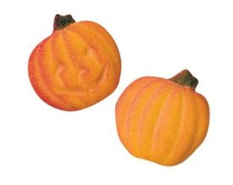 Edible Pumpkin Sugar Dec Ons-Perfect Pumpkin Sugar Dec-Ons. Package of 12, 6 with a face.