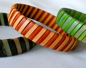 Leather Bangle Woven in Striped Pattern