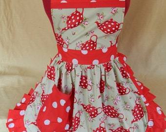 Retro Vintage 50s Style Full Apron / Pinny - Red & White Teapots (Polka Dot) on Pale Green