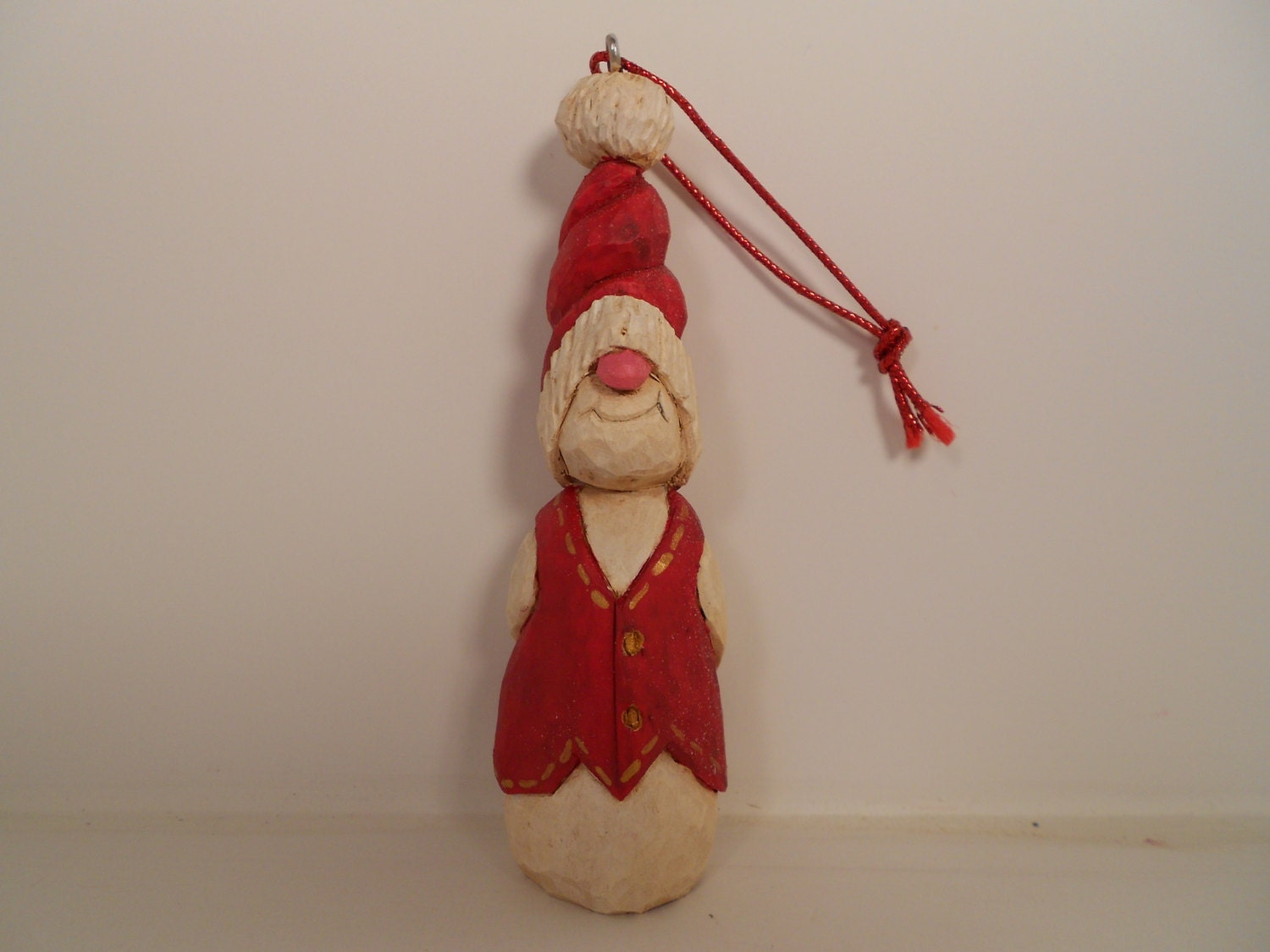 Snowman christmas ornament wood carving gift