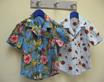 Sewing pattern The Thomas Shirt pdf downloadable sewing pattern for boys and girls 2 to 14 years. Hawaiian Shirt childrens sewing patterns