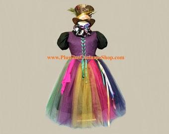 MAD HATTER Alice in Wonderland Plus Size Halloween Costume Adult Womens 1X 2X 3X 4X 5X - 8 pcs New