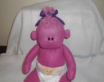 "16"" Baby Girl Dark Rose Cloth Soft Sculpted Stuffed Plush Handmade Doll diaper child monster Easter Christmas Halloween creature alien"