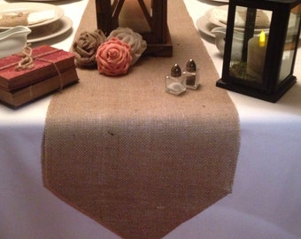 """Burlap Table Runner  12"""" wide with pointed ends - Wedding runner Holiday decorating Home decor Housewarming gift"""