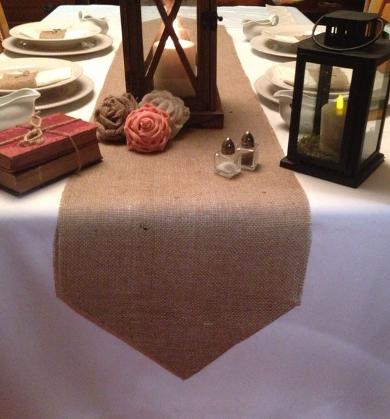 Burlap table runner 12 wide with pointed ends wedding for 12 wide table
