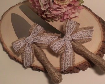 rustic cake knife burlap and lace wedding cake serving set rustic wedding cake server and knife(K120))