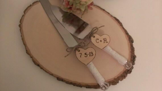 lace wedding cake knife customized country wedding cake serving set, personalized(K126)