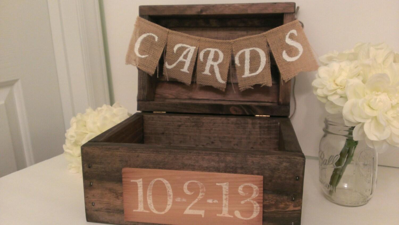 Rustic Card Box Wood Country Wedding Decor Burlap Banner