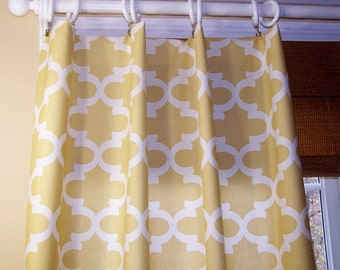 "Quatrefoil - Offwhite Curtains - Window Treatment - Creamy Yellow - Saffron - Custom Curtains - Drapes - 24"" - Rod Pocket - Various Lengths"