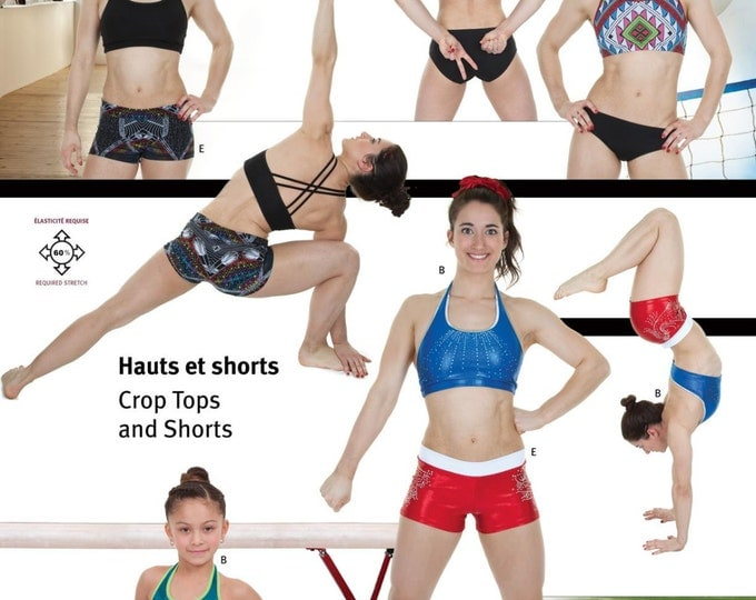 Featured listing image: Jalie Crop Tops & Shorts Sewing Pattern # 3247 in 24 Sizes for Women and Girls