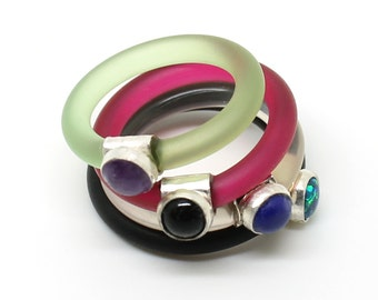 Colorful stack ring - silver and colorful rubber ring with a gemstone