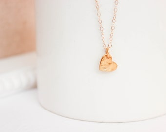 Hammered Gold Heart Necklace