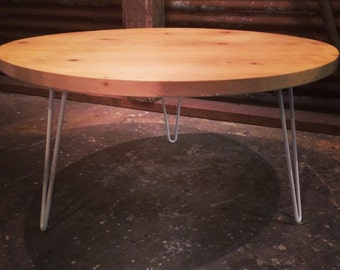 Reclaimed Pine Coffee Table with White Hairpin legs.