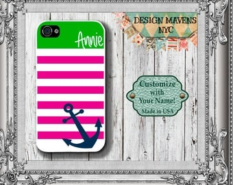 Preppy Anchor iPhone Case, Nautical iPhone Case, Personalized iPhone Case, iPhone 4, iPhone 4s, iPhone 5, Phone 5s, iPhone 5c, iPhone 6