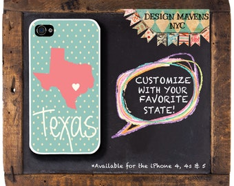 Texas State Love iPhone Case, Personalized iPhone Case, iPhone 4, iPhone 4s, iPhone 5, iPhone 5s, iPhone 5c, iPhone 6, Plastic iPhone Case