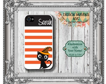 Halloween iPhone Case, Cat iPhone Case, Personalized iPhone Case, iPhone 4, 4s, iPhone 5, 5s, 5c, iPhone 6, 6 Plus, Phone Cover, Phone Case