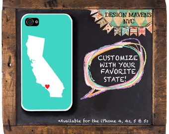 Personalized iPhone Case, State Love California iPhone Case, iPhone 4, iPhone 4s, iPhone 5, iPhone 5s, iPhone 5c, iPhone 6, Phone Case