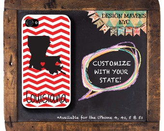 Personalized iPhone Case, State Love Louisiana Phone Case, iPhone 4, iPhone 4s, iPhone 5, iPhone 5s, iPhone 5c, iPhone 6, Phone Case