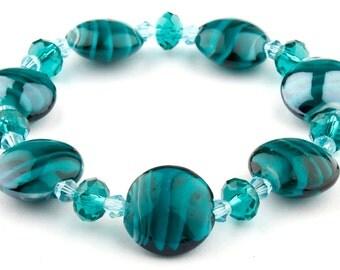 Teal Murano Glass Stretch Beaded Fashion Bracelet