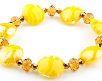 Yellow Murano Glass Stretch Beaded Fashion Bracelet