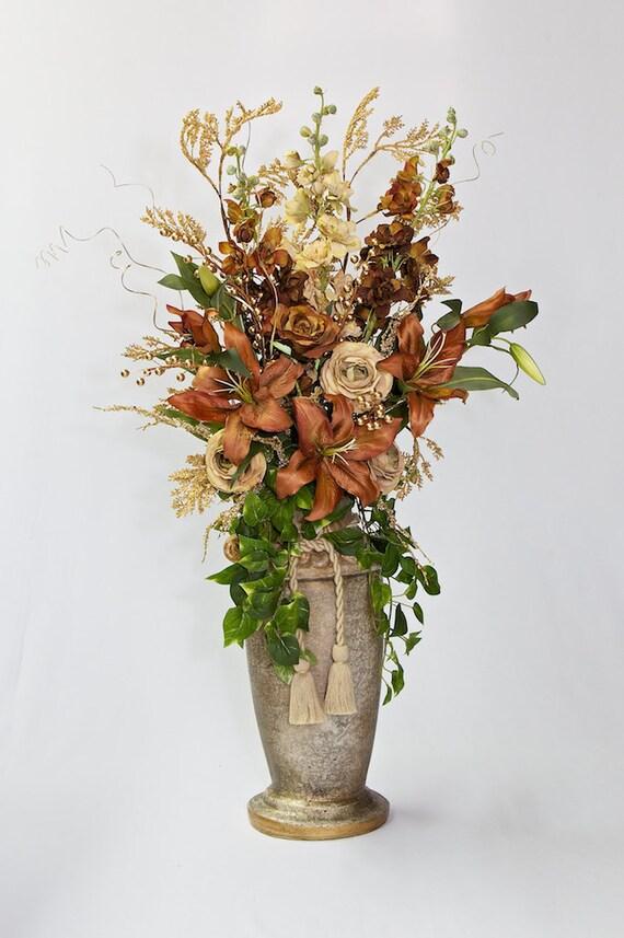 Large Brown amp Beige Artificial Floral Arrangement in Ceramic