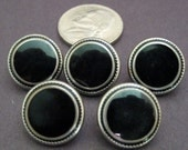 Vintage Black and Silver Metal Buttons