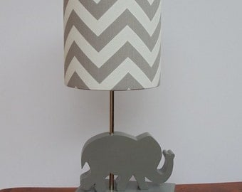 Small Grey/White Chevron Drum Lamp Shade - Nursery, Girl's or Boy's Lamp Shade