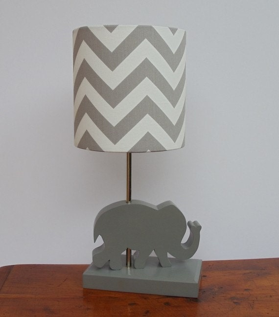 Small Grey/White Chevron Drum Lamp Shade Nursery Girl's