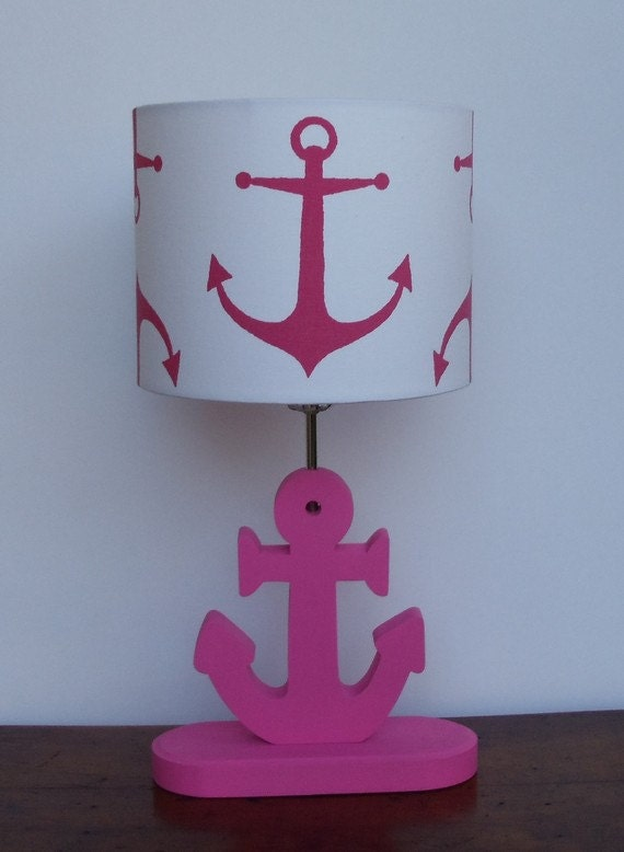 handmade medium candy pink anchor nautical theme drum lamp. Black Bedroom Furniture Sets. Home Design Ideas