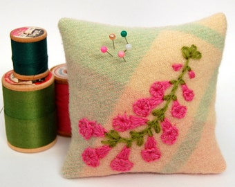 Square Embroidered Pin Cushion Australian Native Flower Pink Heath