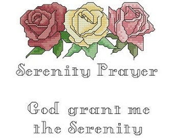 Serenity Prayer Instant Download Counted Cross Stitch Pattern Scripture Charted Design PDF