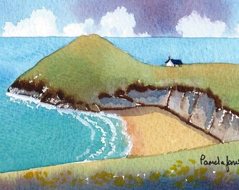 Watercolour Print Mwnt with Church Cardigan bay Wales Gift Idea Art And Collectibles