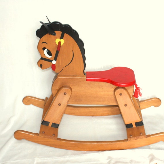 Handmade Vintage Wooden Rocking Horse Large And Sturdy Toddler