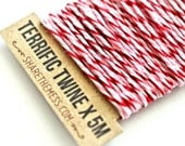 Valentines' Twine (5m) with Brown Kraft Shipping Tag - Pink, Red & White Twisted Twine