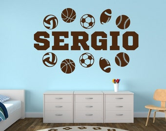 Personalized Sports Name Decal - Sports Decor Kids Room Teen Name Vinyl Wall Decal Sports
