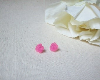 Pastel pink flower earrings,Pink rose earrings,Shabby chic jewelry,Unique gift