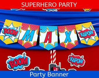 FREE SHIPPING Superhero Party Banner | Superhero Birthday Banner | Superman Party Banner | Super Man Birthday Banner