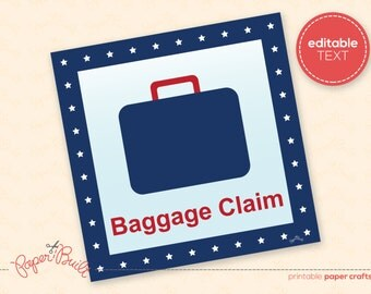Printable Airplane Birthday Party Baggage Claim Sign from the All-American Airplane Party Collection by Paper Built