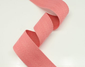 "5 Yards of Pink Color 15mm (5/8"") or 25mm (1.0"") Cotton Twill Herringbone Ribbon Fabric Ribbon Tape Vintage Color trim - Annielov Crafts"