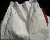 50's French Half Apron - Handmade - Front Pliers - Cotton and Lace Apron - White Lace Trimmed  - 2 Large Front Pockets- Unused