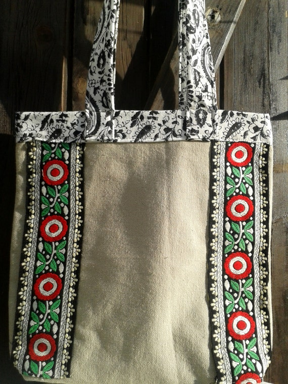 Gypsy Beige Bag Floral Braid Embroidered Purse French Handmade Cotton Black Paisley Lined #sophieladydeparis