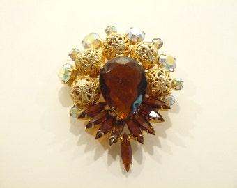 Gorgeous Vintage Juliana AB & Topaz Rhinestone Brooch / Pin