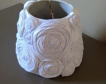 Shabby Chic White Satin Rose Vintage Style Lampshade Size Small