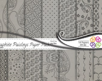 Grey Paisley Digital Paper Pack, Paisley Digital Scrapbooking Paper Pack  Gray - Commercial Use ,Instant Download