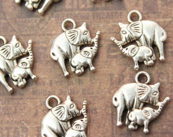 10 Mom and Baby Elephant Charms Antiqued Silver Double Sided  13mm x 13mm
