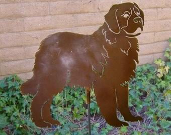 St. Bernard Garden Stake, Pet Memorial, Ornament, Steel Yard Art, Dog Breed Specific, Rustic