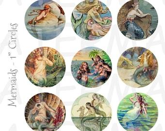 Vintage Mermaid Art - 4 x 6 Digital Collage Sheet  - 1 inch Round Circles - INSTANT DOWNLOAD
