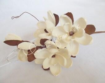 Bridal flower,wedding flower,paper flower,wedding bouquet,bridesmaids bouquet,paper flower ivory magnolias.