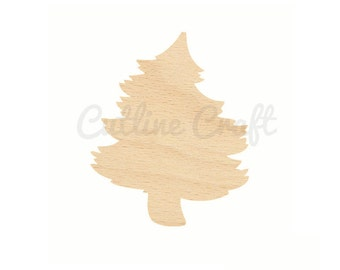 Curvy Christmas Tree Cutout id 112 Crafts, Gift Tags Ornaments Laser Cut Birch Wood Various Sizes